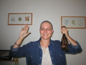 Ready for chemo in 2004 with a pony tail for Locks of Love